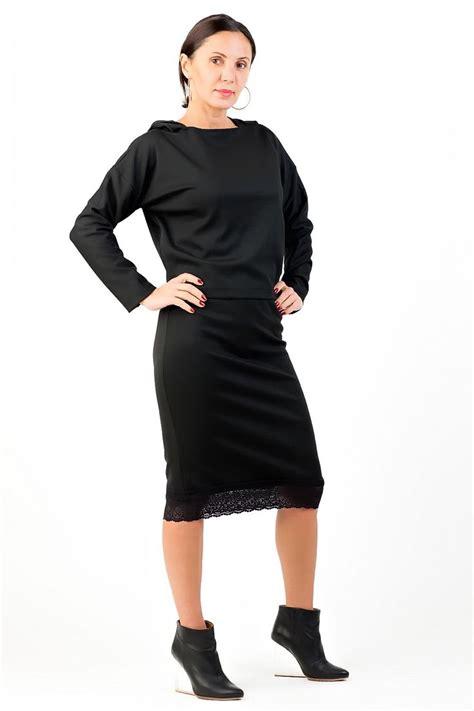 Set Hoodie Midi Skirt pencil black skirt and black top midi skirt and black