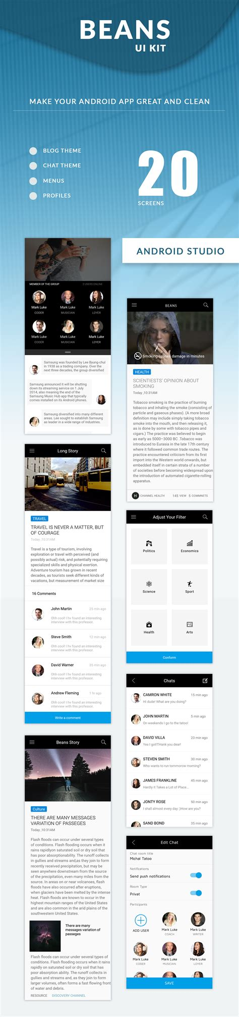ui templates for android apps beans ui kit android app template by rushabhpatel381