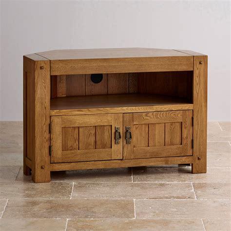 tv stands and cabinets quercus corner tv cabinet in rustic oak oak furniture land