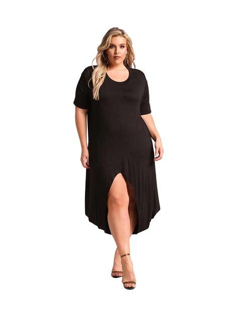 Umbrella Dress Maxi Jersey Fit To L black plus size hi lo slit jersey knit maxi dress e61889 2 cilory