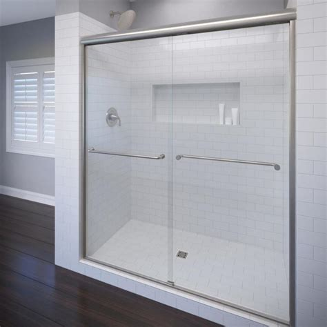 Basco Shower Doors Reviews Shop Basco Celesta 44 In To 48 In Frameless Brushed Nickel Shower Door At Lowes