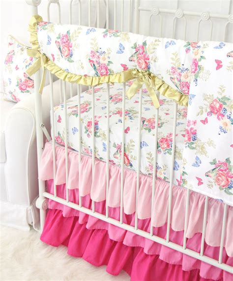 pink and white crib bedding ophelia s pink white floral bumperless crib bedding