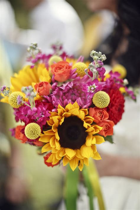 yellow and pink sunflowers flower wedding flowers by leafy couture bridal bouquet with
