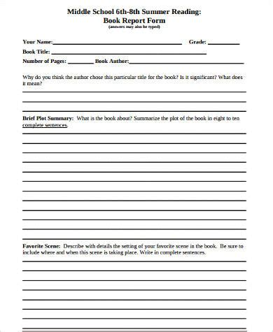 Book Reports For 8th Grade Sample Book Report Forms 9 Free Documents In Word Pdf