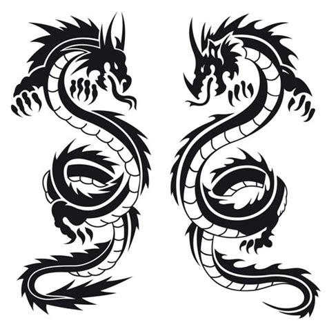 two dragon tattoo template design black by monkey8920 on