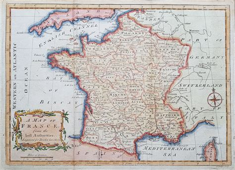 Vintage French Vanity Antique Map Of France John Lodge Circa 1780