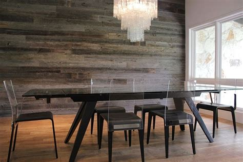 dining room accent wall reclaimed barn wood accent wall in the contemporary dining