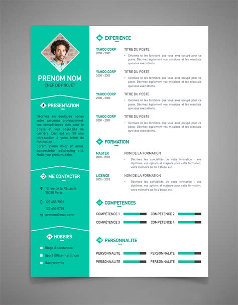 Cv Lettre by Modele Cv Moderne Simple Sucredesign