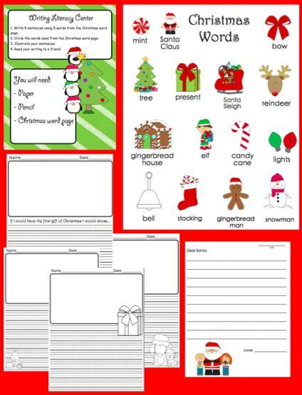 printables for kindergarten centers christmas literacy centers and printables