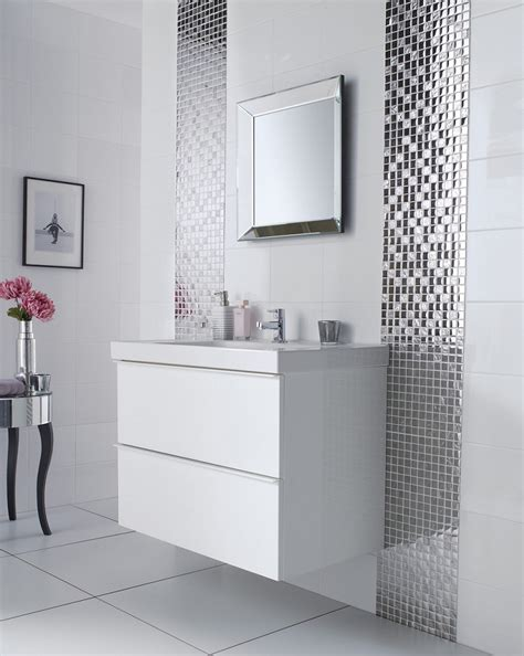 silver bathroom mirror large white tile bathroom white