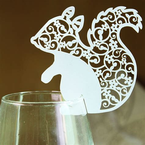 60pcs Lot White Ivory Design Cute Animal Squirrel Pattern Laser Cut Glass Cup Cards Party Laser Cut Glasses Template