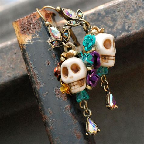 Dia De Los Muertos Jewelry Day Of The Dead Earrings Orange | day of the dead sugar skull earrings
