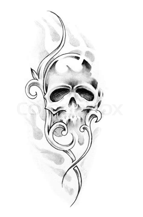 sketch of tattoo art skull stock photo colourbox