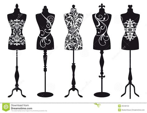 vector illustration of a stylish fashion mannequins vector set stock photos image 26448153