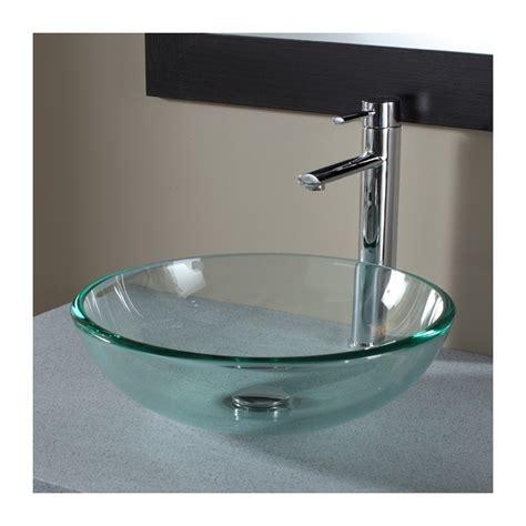 vasque 224 poser ronde en verre transparent plomberie sanitaire chauffage