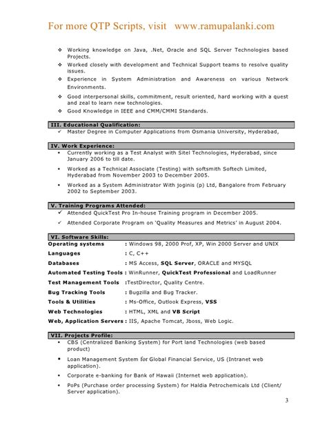 sle resume for software test engineer with experience qtp resumes for experienced annecarolynbird