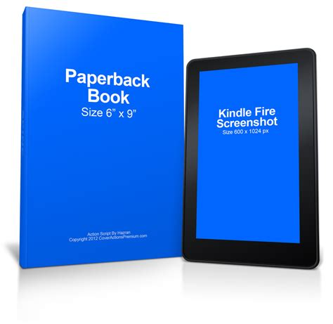 Kindle Fire Paperback Book Mockup Cover Actions Premium Psd Mockup Template Kindle Paperback Template