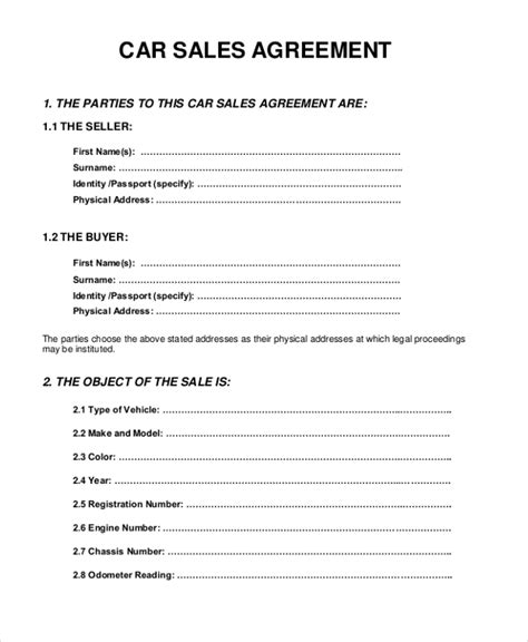 Sle Sales Agreement Form 10 Free Documents In Pdf Doc Car Sale Deed Template Usa