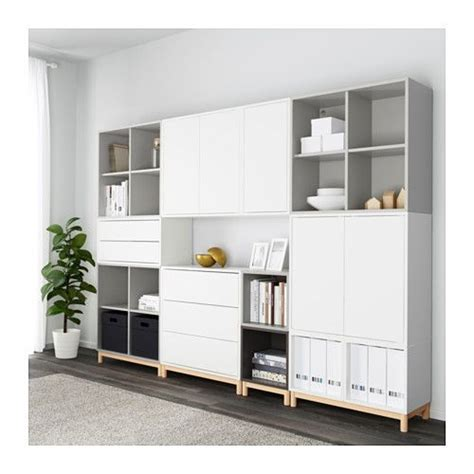 besta eket cabinet combination with legs eket white light grey