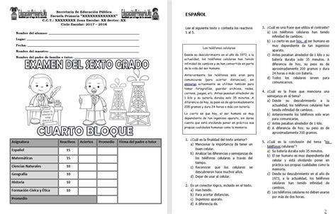 examen del tercer grado del cuarto bloque del ciclo examen del sexto grado del cuarto bloque del ciclo escolar