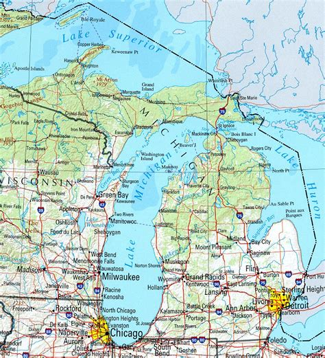 map of cities in michigan michigan reference map
