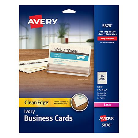 avery laser clean edge two side printable business cards 2 x 3 12 ivory pack of 200 by office