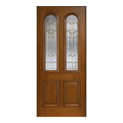Cherry Wood Front Door Door 36 In X 80 In Mahogany Type Prefinished Cherry Beveled Brass Arch Glass Solid