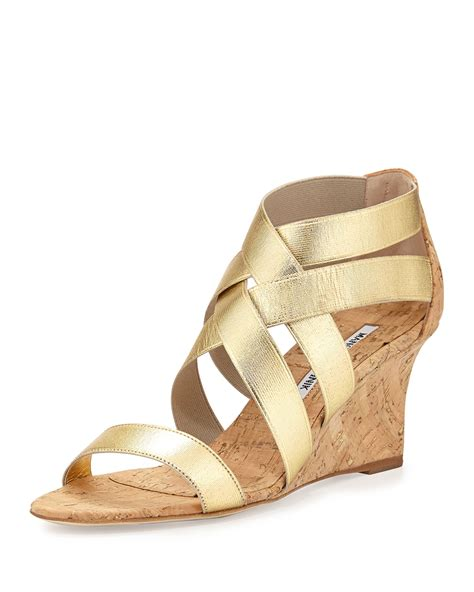 cork wedge sandal lyst manolo blahnik glassa strappy cork wedge sandal in