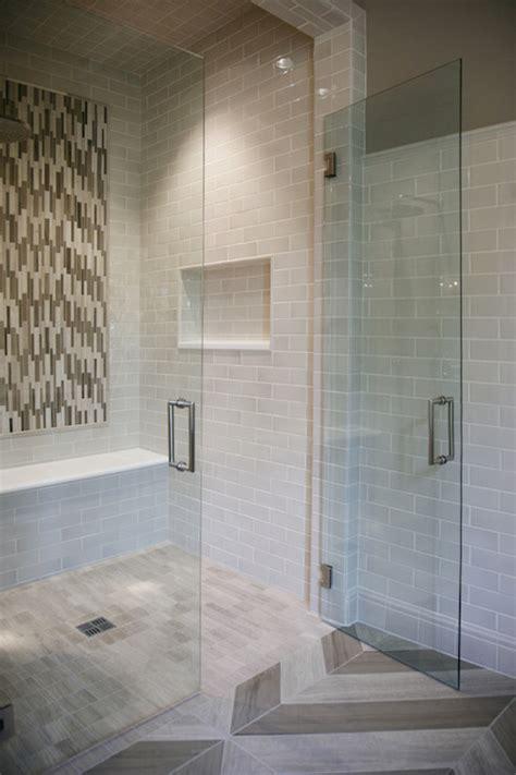 shower  gray subway tiles contemporary bathroom
