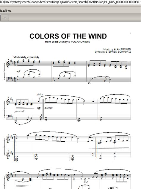 colors of the wind piano colors of the wind sheet by alan menken piano 84751