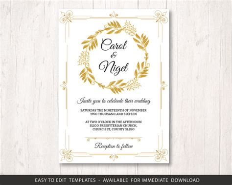templates for golden wedding invitations gold wedding invite template printable wedding invitation