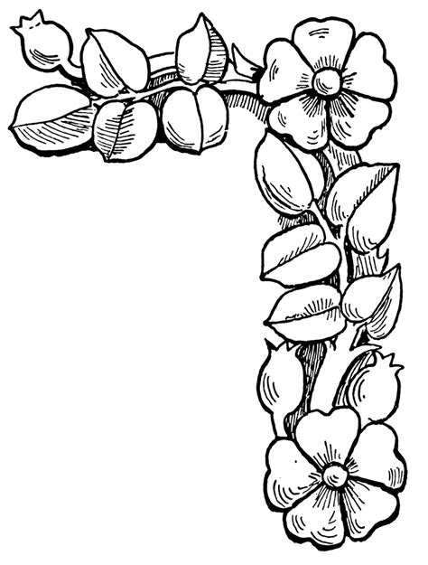 flower border tattoo simple flower corner clipart clipart suggest