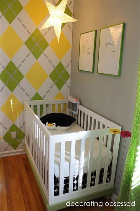modern yellow and green nursery arygle wall design dazzle
