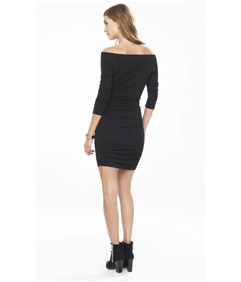 Express Black Rayon Dress lyst express the shoulder sweater dress in black