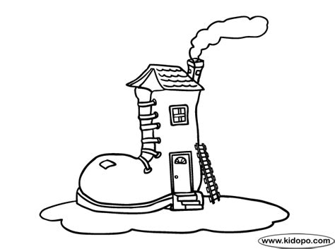 Shoe House Coloring Pages | shoe house coloring page