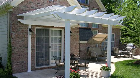 Patio Transformed With Attached Low Maintenance Vinyl Attached Vinyl Pergola Kits