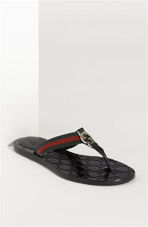gucci sandals gucci gg logo sandal in black nero lyst