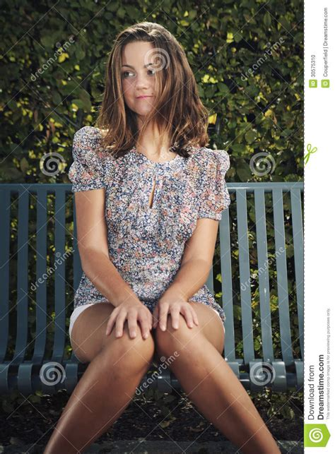 the bench com nice woman posing on the bench stock photo image 30575310
