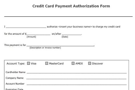 Credit Card Payment Authorization Form Template Accounts Receivable Controls Vitalics