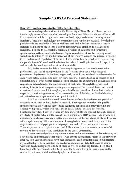 sample aadsas personal statements personal statement