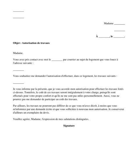 Mod Le De Lettre De Refus De Demande D Emploi Lettre D Autorisation Ou De Refus D Autorisation Des Travaux Au Locataire