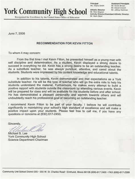 Letter Of Recommendation For Graduate School recommendation letter for education graduate school