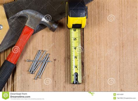 home repair tools for wooden shingle roof stock photo