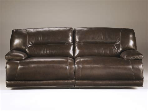 ashley leather sofas ashley furnitureexhilaration chocolate 2 seat reclining sofa