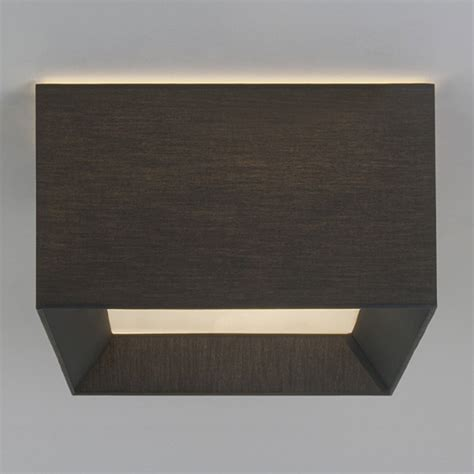 black square l shade square flush fitting ceiling light with black fabric shade