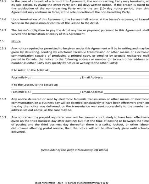 saskatchewan rental agreement template saskatchewan lease agreement for the rental of
