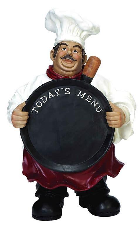 French Fat Chef With Chalkboard Menu Statue Kitchen Decor