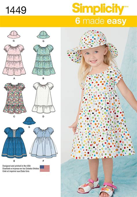 sewing patterns templates designs projects store simplicity pattern 1449bb 2 3 4 toddlers dresses