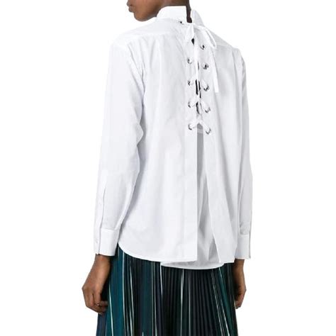 For St In A Back Lace Up Detail Tunic by Sacai Lace Up Back Cotton Poplin Shirt Evachic March 22