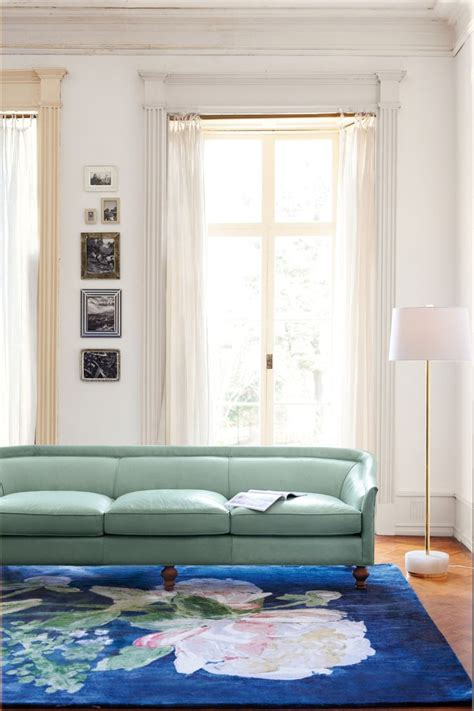 anthropologie living room premium leather holloway sofa anthropologie